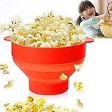 Ruosaren Popcorn Popcorn Popper Microonde Aria Calda Popcorn Popcorn con Coperchio Pieghevole e Resistente alle Temperature Secchio in Silicone (Arancione)