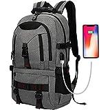 Tocode Wasserdicht Laptop Rucksack,Damen Herren Notebook Business Tasche mit USB Kabel und Anschluss für bis zu 17 Zoll Stylisch Rucksäcke Daypacks für Arbeit Schul Outdoor (Schwarz Neu with USB)