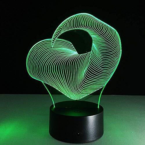 Faded Kleurrijke Led 3D Licht Stereo Vision Verlichting Keuken Kast Mobiele Power Bureau Lamp 7 Kleurveranderende Bureau Lamp