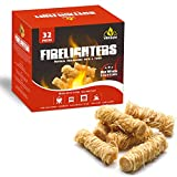 Veksun Fire Starters,Charcoal Starters Wood Wool Long Burning Natural Kindling for Fireplace,Campfire,Fire Pit, BBQ Grill,Wood Pellet Stove,Log Burner,Pizza Oven,Smokers 32 Pcs