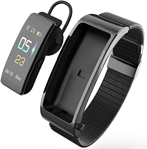 KJRJEJ Sport Smart-Armband Bluetooth Headset 2 in 1 Aufruf Multifunktions for alle Smartphones (Color : Black)