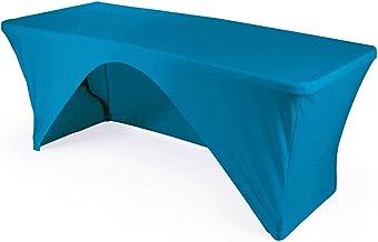 مفرش LA Linen من الألياف اللدنة بظهر مفتوح لطاولة مستطيلة بطول 8 أقدام 8-Foot Table 1PKOB96Lx30Wx30HSpndxTurquoiseX52