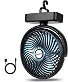 BRIGENIUS Camping Fan with LED Lights 7-Inch, Rechargeable 4400mAh Desk USB Fan Battery Operated with 3 Level Air Flow, Portable Personal Fan for Camping Home Office Travel Indoor Outdoor