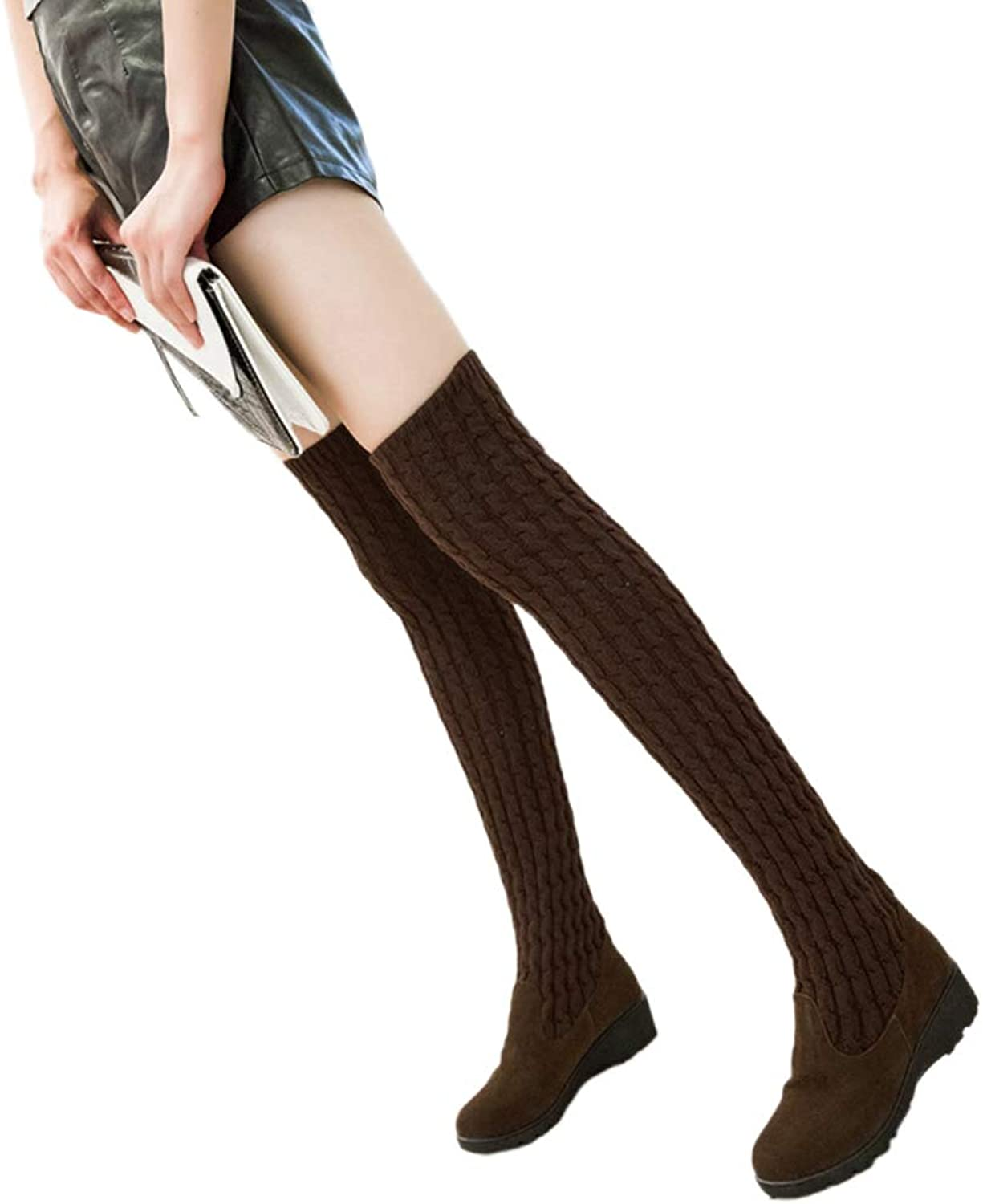 Winter Woman Sock Boots Heels Over The Knee Woolen Ladies Long Boots Elastic Thigh High Warm shoes