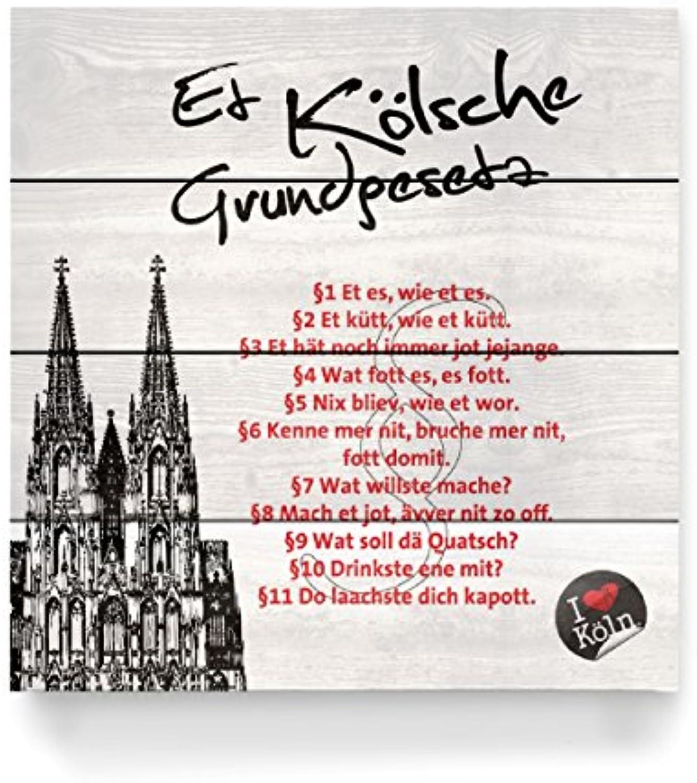 ArtboxONE Holzbild 40x40 cm Stdte Kln ET KLSCHE GRUNDGESETZ wei von Künstler KoenigReich