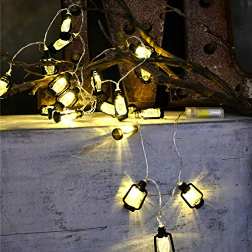 FeiliandaJJ Lichterkette, 2M 20pc Kreative Mini-Laterne Innen/Außen Deko Hochzeit Party Halloween Weihnachten Haus Deko String Lights 3XAA Batterien (Schwarz)