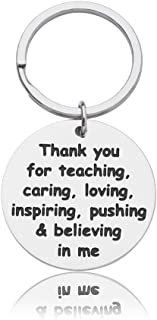 Thank You Gifts Keychain for Teacher Mom Dad Birthday Thanksgiving Day Christmas Graduation Appreciation Gift Thank You for Teaching Caring Loving Inspiring Pushing & Believing in Me Jewelry Gift