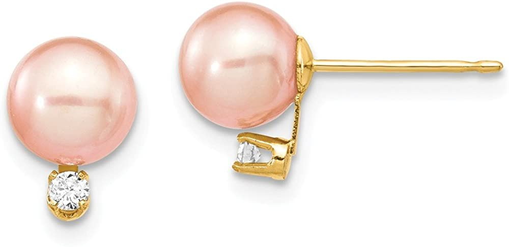 Solid 14k Gold 6-7mm Round Pink FW Cultured Pearl Diamond Post Earrings