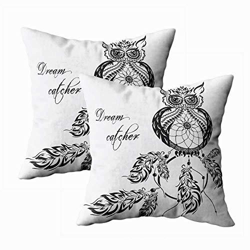 Juego de 2 fundas de almohada para exteriores, 45,7 x 45,7 cm, diseño de búho con fondo blanco, para decoración del hogar, fundas de almohada con cremallera para sofá