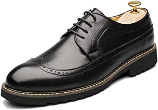Men's Fashion Oxford Nonchalant Classical Carvings Breathe British Style Outsole Brogue Shoes casual shoes (Color : Warm Black, Size : 41 EU)