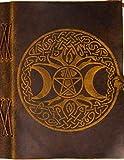 Libro de cuero urbano – Luna celta y árbol de la vida – Diario de cuero vintage hecho a mano – Cuaderno de dibujo para libros de recortes para tus historias de viaje
