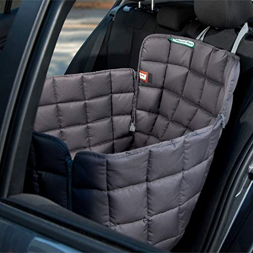 Doctor Bark Hunde 1-Sitz-Autoschondecke für die Rücksitzbank, All-Side Schutz mit Reißverschluss für alle PKWs und SUVs, M in Grau