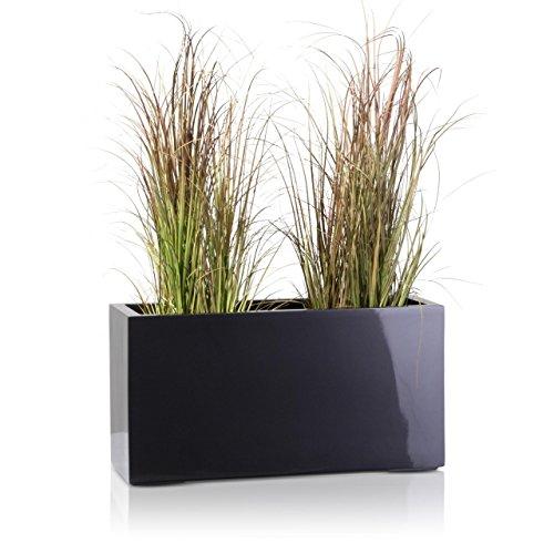 Pflanzkübel Blumentrog VISIO Fiberglas Blumenkübel - Farbe: grau metallic - Hochglanzoberfläche, großer wetter- und winterfester Pflanztopf für Innen & Außen, robuster & UV-beständiger Pflanztrog