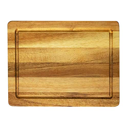 Villa Acacia Small Wood Cutting Board - 12 Inch Wooden Board for Fruits and Vegetables