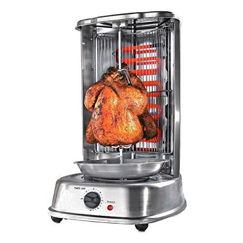 TRI Multi-Funktions-Grill | drehbarer Elektrogrill | Tischgrill Spießgrill für Schaschlik, Döner, Hähnchen | gleichmäßige Hitzeverteilung | mit Edelstahl Fettauffangbehälter | Timerfunktion | Edelstahl