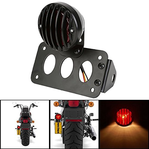 WASTUO Lampe arrière, latérale de Moto Noire, lumière de Frein, Support de Plaque d'immatriculation arrière pour Suzuki Yamaha Harley Bobber Chopper