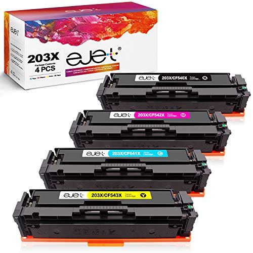 ejet 203X 203A Toner Patronen Kompatible für HP CF540X CF540A für HP Color Laserjet Pro MFP M281fdw, M254dw, MFP M281fdn, MFP M280nw, M254nw, M254dn Drucker (1 Schwarz / 1 Cyan / 1 Magenta / 1 Gelb)