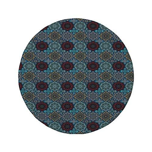 Rutschfreies Gummi-rundes Mauspad marokkanisch Vintage osmanische Inspiration im Patchwork-Stil dekorative Retro-Henna-Motive Rubinblau Sandbraun 7,9 \'x 7,9\' x3 mm