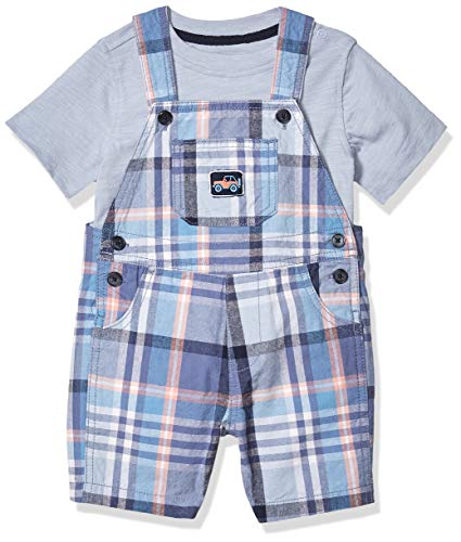 Kids Headquarters Baby Boys' Shortall Set, Blue/Plaid, 6-9 Months
