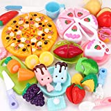 Fun-Here 48PCS Play Kitchen Food Toy Set Kids Cutting Market Cooking Educational Leaning Cake Pizza Fruit Vegetables Ice Cream Pretend Playset Party Favor Supplies for Boys Girls