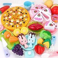 Fun-Here 48 Pezzi Cibo Giocattolo Cucina Gioco Bambini Taglio Cucina Torta educativa Pizza Frutta Verdura Gelato Finta Gioco Set Festa Adatto per Ragazzi e Ragazze