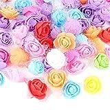 VINFUTUR 200pcs Rosas Artificiales Flores Mixtos Rosas Falsas Espuma con Borde de Gasa...