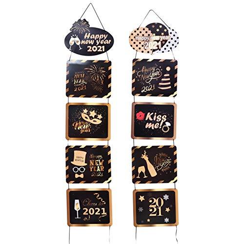 KESYOO Feliz Ano Novo Porta Banner Alpendre Banner Alpendre Sinal Bem-Vindo Banner Porta Decoração de Parede 2021 Suprimentos para Festas de Ano Novo Lunar