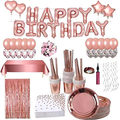 Décoration Anniversaire Rose Or, Guirlande Happy Birthday, Service de Table en Rose-Or,30 invités Vaisselle Jetable Or Rose, Assiettes Anniversaire Papier Tasses,Anniversaire Ballon Rose Kit