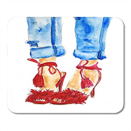 """AOHOT Mauspads Street Red Shoes and Blue Jeans on Woman Legs Sexy Girl Watercolor Sketch Raster Drawing Denim Mouse pad 9.5\"""" x 7.9\"""" for Notebooks,Desktop Computers Mini Office Supplies Mouse Mats"""