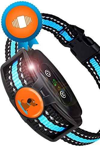 Humane Rechargeable Bark Collar for Small Dogs and Medium- NO Shock Anti Barking Dog Collars with Beep Vibration, The Smartest No-Pain Correction with 2 Modes: Vibration and Strong Vibration Mode