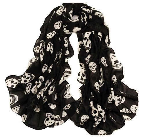 Fablcrew - Bufandas de cuello, diseño de calavera, chal para niñas, color negro