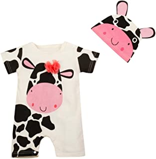 LNGRY Baby Clothes,Toddler Baby Boys Girls 2Pcs Cute Milk Cow Cattle Print Romper Playsuit+Hats Set Clothes