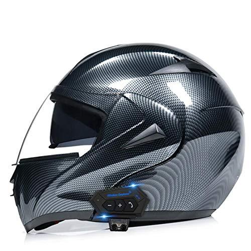 UIGJIOG Motorrad Helme Männer Bluetooth,Motorrad Integrierter Bluetooth-Helm Funk Sprechanlage Motorrad-Klapphelm mit Anti-Fog-Doppelscheib,G,XL(61~62CM)