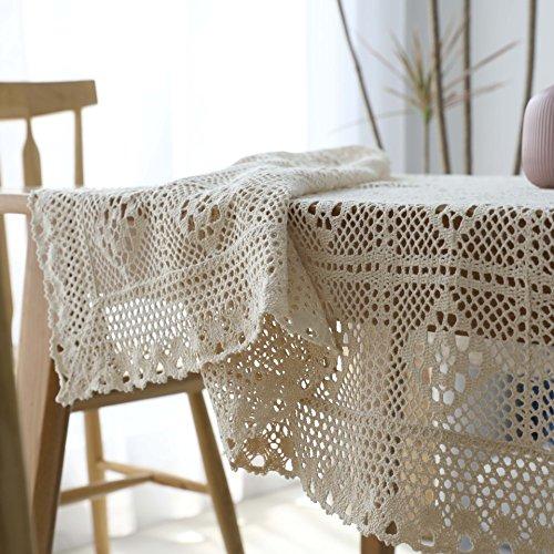Creek Ywh Mantel Pastoral Americano Vintage Calado Mantel literario Encaje Mesa de café paño, Crochet a Cuadros Beige, 140 * 200 cm