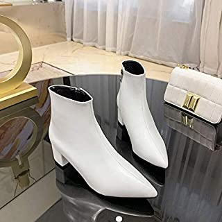 SAKLHFD Women's Shoes Spring and Autumn Women's Shoes 2019 New Summer Martin's Shoes Thick Heel High heel White Shoes.
