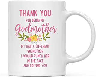 Andaz Press Funny Family 11oz. Coffee Mug Gift, Thank You for Being My Godmother, Punch in Face, 1-Pack, Christmas Birthday Drinking Cup Present Ideas