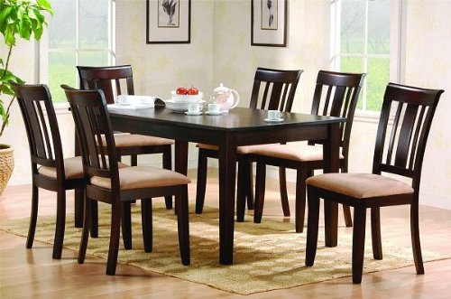 Hot Sale 7pc Contemporary Cappuccino Finish Wood Dining Table & Chair Set