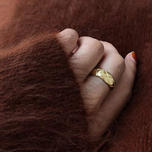 Anelli larghi e stretti due dimensioni Street Style Coppie migliori Amici Anello francese minimalista regolabile geometrico trapuntato oro anelli per le donne gioielli (colore gemma: stretto)