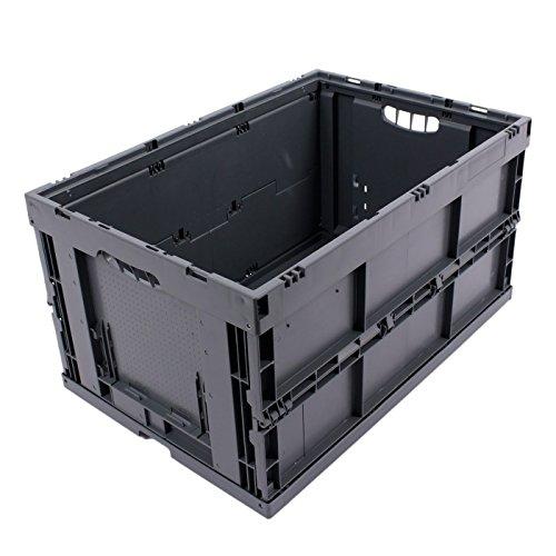 KLAPPBOX 61 Liter, stabile Faltbox, Made in Germany, 60x40x32cm, Kunststoff Transportkiste, Plastikbox, Transportbox, max. 60kg, Grau