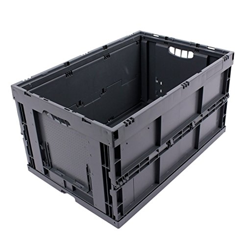 KLAPPBOX 61 Liter, stabile Faltbox, Made in Germany, 60x40x32cm, Kunststoff Transportkiste, Plastikbox, Transportbox, max. 60kg, Grau