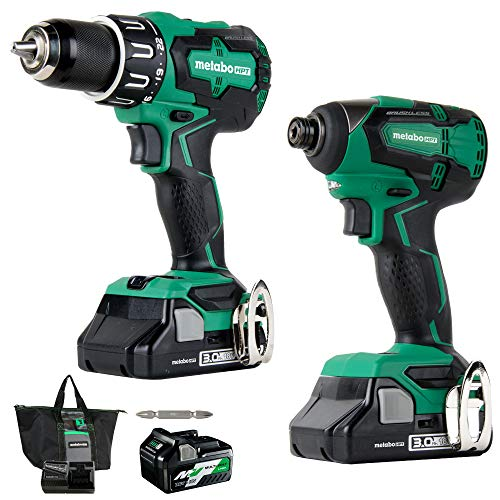 Metabo HPT Cordless Hammer Drill and Impact Driver Combo Kit, 18V, Brushless, Includes Two Batteries, 1-36V/18V MultiVolt 5.0 Ah and 1-18V Compact 3.0 Ah Battery, Lifetime Tool Warranty (KC18DBFL2T)