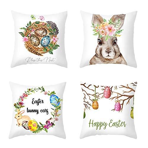 BOINN 4 Piezas Huevos de Pascua Funda de CojíN Feliz Pascua Decoraciones para el Hogar Sofá DecoracióN Fiesta de Pascua Regalos Funda de Almohada 45X45Cm