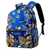 XiangHeFu Mochila pequeña para niñas niño al aire libre a pie bolsa de viaje mochila escolar Pez acuario Mochila estampada