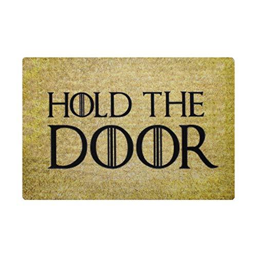 Pinji Funny Doormat Hold The Door Non-Slip Rubber Entrance Mat Floor Mat Rug Indoor/Outdoor/Front Door/Bathroom Mats Personalized 23.6(L) x 15.7(W) inch 06