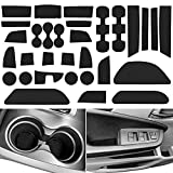 LAIKOU Cup Holder Mats 31-pc for Honda Pilot 2016-2021 Custom Fit Cup, Car Door, Slot, Gate and Center Console Liners Cushion Whole Set Dust-Proof Anti-Slip(Solid Black)