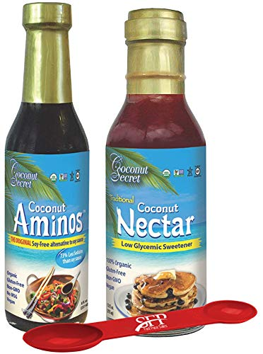 Coconut Secret Organic Pack Includes: (1) COCONUT AMINOS SOY FREE SAUCE, 8 OZ. And (1) COCONUT NECTAR LIQUID SWEETENER, Organic Agave Syrup Alternative, 12 Oz. BONUS MEASURING SPOON INCLUDED.
