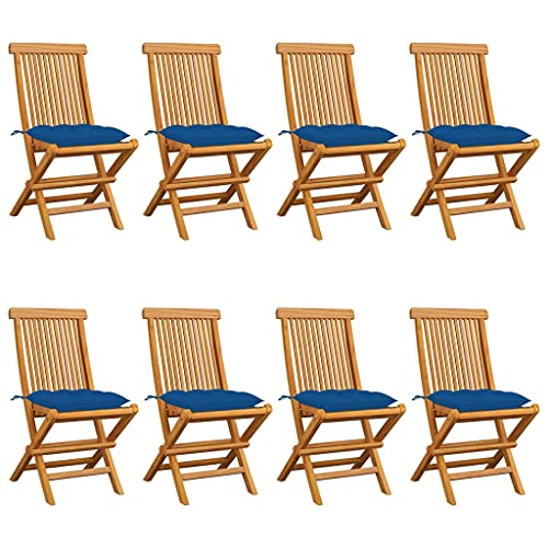 vidaXL 8X Teca Maciza Sillas de Jardín con Cojines Sillón Exterior Terraza Balcón Patio Asiento Butaca Muebles Mobiliario Duradera Azules