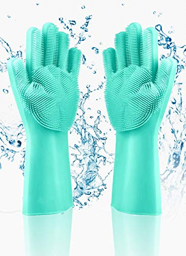 Guantes de silicona mágicos, guantes de silicona para limpieza de vajilla, guantes de silicona resistentes al calor adecuados para la limpieza doméstica de cocina / baño / automóvil / mascotas.