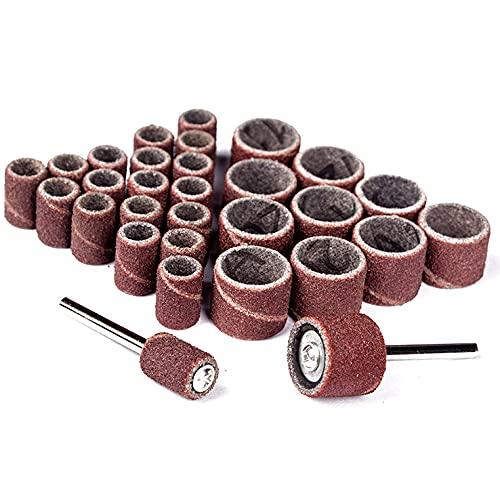 50 piezas de banda de lijado anillo de papel abrasivo pulido papel de lija brocas de uñas para máquina eléctrica de uñas Metalurgia para herramientas Dremel, 12,7 mm * 12,7 mm, 320