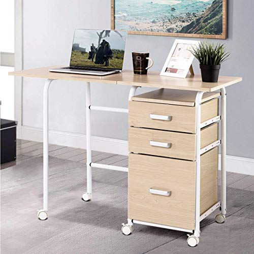 PATIOJOY Folding Computer Desk Wheeled Home Office Furniture with 3 Drawers Laptop Desk Writing Table Portable Dome Apartment Space Saving Compact Desk for Small Spaces (As pic)